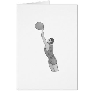 gray basketball man stationery note card
