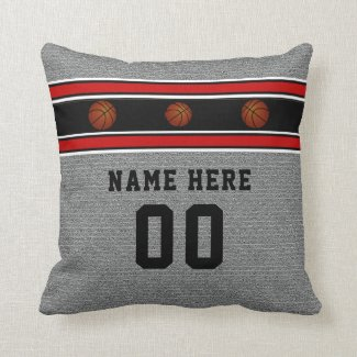 Gray Basketball Pillow with his Name and Number