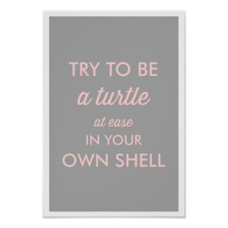 GRAY BE A TURTLE AT EASE IN YOUR OWN SHELL POSTER