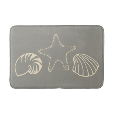 Beach Themed Gray Beach Seashell Nautical Bathroom Rug Bath Mat