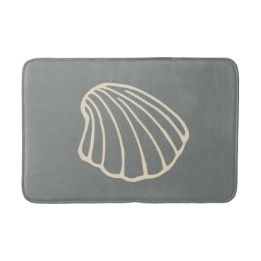 Beach Themed Gray Beach Seashell Sea Bathroom Rug Bath Mat