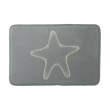 Beach Themed Gray Beach Starfish Nautical Bathroom Rug Bath Mat