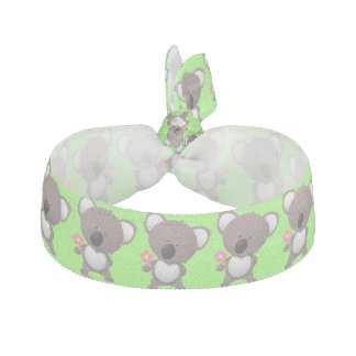 Gray Bear and Flower Animals Cute Ribbon Hair Tie