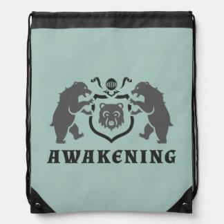 Gray Bears Awakening Blazon Drawstring Bag