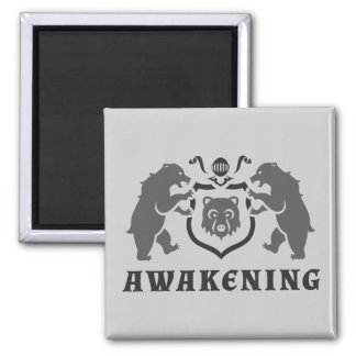 Gray Bears Awaking Blazon 2 Inch Square Magnet