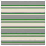 [ Thumbnail: Gray, Beige & Dark Green Stripes Pattern Fabric ]