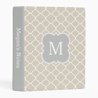 Gray Beige Tan Monogram Quatrefoil Elegant Mini Binder