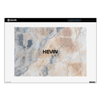 Gray & Beige Tones Marble Stone Monogram Laptop Skin
