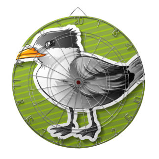 Gray bird dartboard with darts