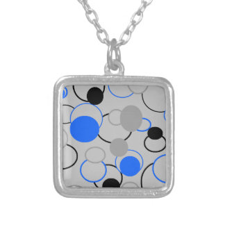 Gray, Black and Blue Bubbles Silver Plated Necklace