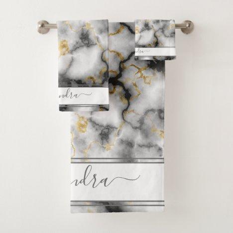 Gray Black and Gold Modern Marble Custom Elegant Bath Towel Set