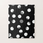 Gray, black and white dot pattern. Custom Puzzles