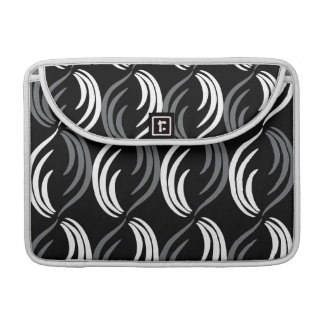 Gray,Black And White Modern Abstract Pattern MacBook Pro Sleeve