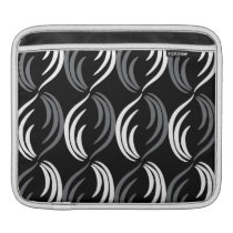 Gray,Black And White Modern Abstract Pattern Sleeve For iPads