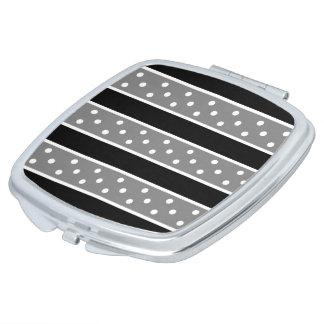 Gray Black And White Polka Dot Pattern Mirror