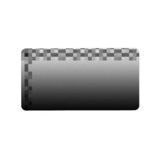 Gray, Black and White Squares Pattern. Address Label