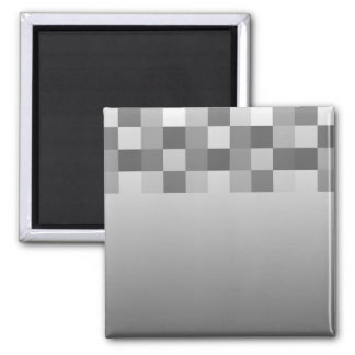 Gray, Black and White Squares Pattern. Magnet