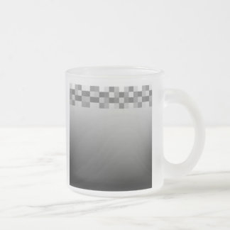 Gray, Black and White Squares Pattern. 10 Oz Frosted Glass Coffee Mug