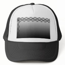 Gray, Black and White Squares Pattern. Trucker Hat