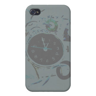 Gray, Black and White Steampunk Clock iPhone 4/4S Cover