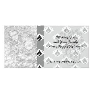 gray black and white tiny damask pattern custom photo card