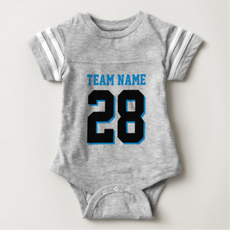 Gray Black Blue Football Jersey Sports Baby Romper