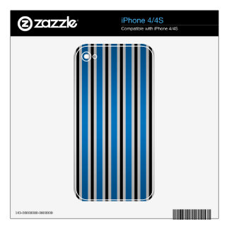 Gray black blue stripes skin for iPhone 4S