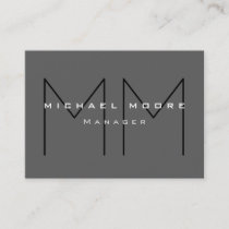 Gray Black Bold Monogram Modern Minimalist Business Card
