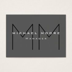 Gray Black Bold Monogram Modern Minimalist Business Card at Zazzle