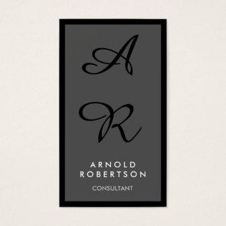 Gray Black Border Unique Monogram Business Card