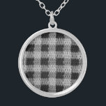 """Gray Black Business Plaid Crochet Print Round Silver Plated Necklace<br><div class=""""desc"""">Photo on Round Sterling Silver Plated Necklace: Yarn Fiber Art - Original tapestry crochet with textured classy business plaid pattern squares in shades of gray and black stitches - Handmade and Copyright by published designer Delores Chamblin.</div>"""