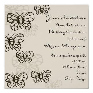 Gray & Black Butterfly Birthday Invitation