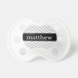 Gray & Black Chevron & Monogram Pacifier