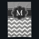 "Gray Black Chevron Monogram Towel<br><div class=""desc"">Show off your style in a fun way with this gray and black chevron monogram kitchen towel.</div>"