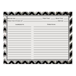 Gray Black Chevron Weathered Barnwood Recipe Cards