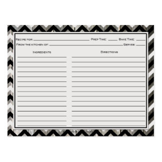 Gray Black Chevron Weathered Barnwood Recipe Cards Postcard