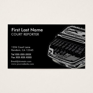 Gray black court reporter custom business cards