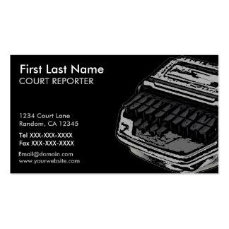 Gray black court reporter custom business cards
