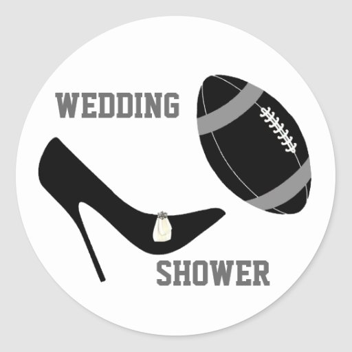 Gray & Black Football Themed Envelope Seal Classic Round Sticker