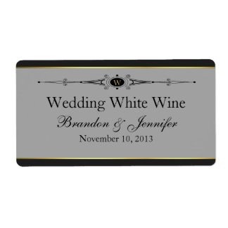 Gray, Black & Gold Custom Wedding Mini Wine Labels