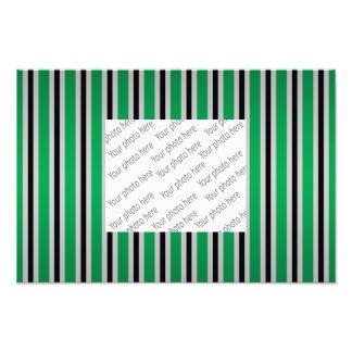 Gray black green stripes photo print