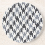 Gray & Black Houndstooth Modern Fabric Texture Drink Coaster