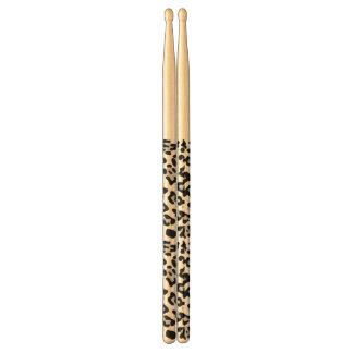 Gray Black Leopard Animal Print Pattern Drum Sticks