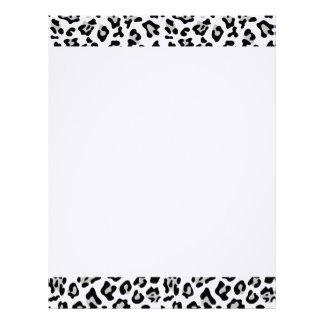 Gray Black Leopard Animal Print Pattern Letterhead