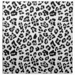 Gray Black Leopard Animal Print Pattern Printed Napkin
