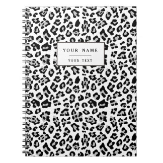 Gray Black Leopard Animal Print Pattern Notebook