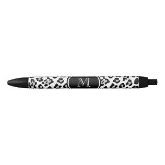 Gray Black Leopard Animal Print with Monogram Black Ink Pen