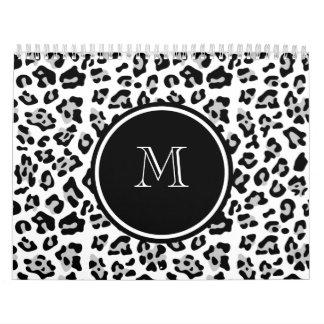 Gray Black Leopard Animal Print with Monogram Calendars