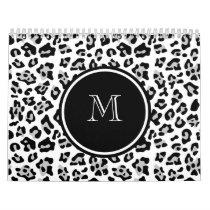 Gray Black Leopard Animal Print with Monogram Calendar