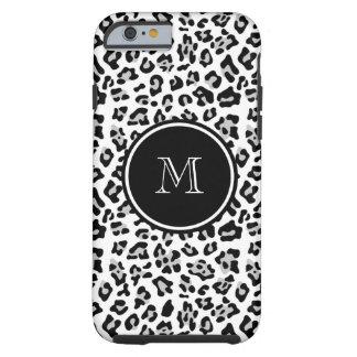 Gray Black Leopard Animal Print with Monogram Tough iPhone 6 Case